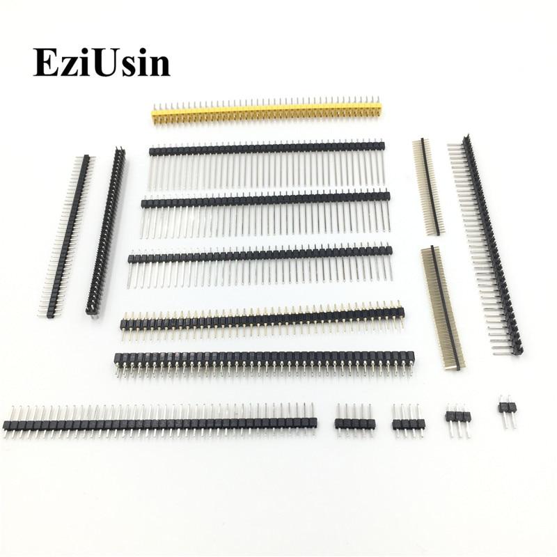 EziUsin 2.54 2.0 1.27 MM Male Femal Pinheader Right Angle Pin Header Flat Angle 10P 40P Single Double Row PCB Connector
