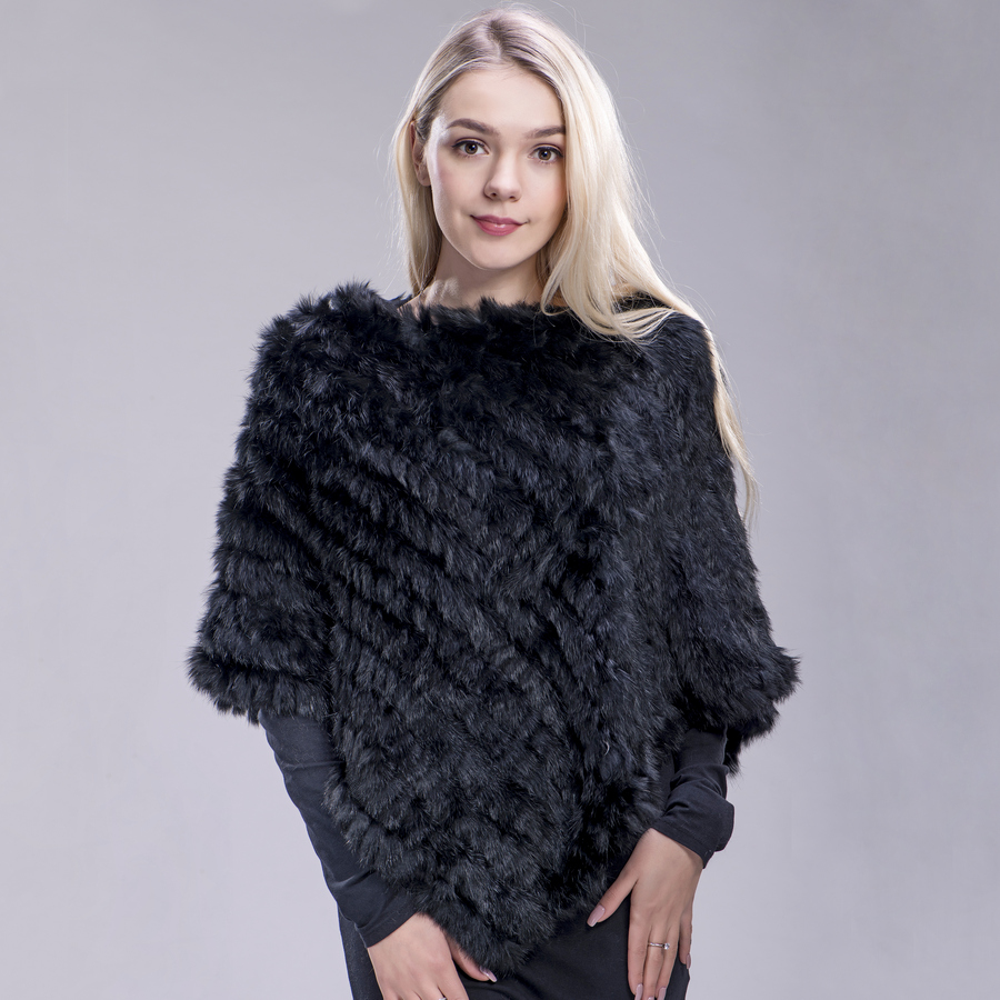 ZDFURS*  Spring Autumn Genuine Real Knitted Rabbit Fur Poncho Wrap Scarves Women Natural Rabbit Fur Shawl Triangle Cape