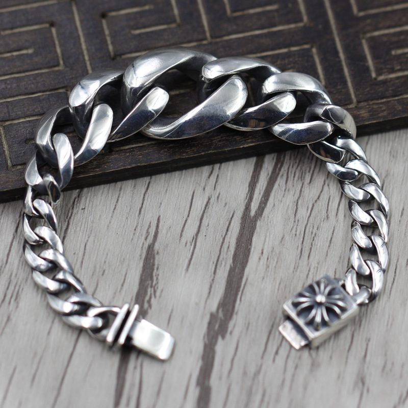 Sterling Silver 925 Build Individuality Gradient Circle Bracelet Thai Silver Retro Punk Wind Cross Bracelet