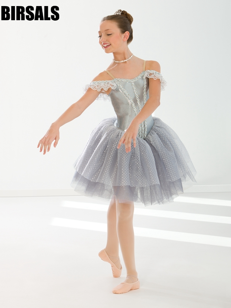 Filles gris belle au bois dormant danse lyrique tutu robe costume enfant ballerine performance tutu robe BT0131