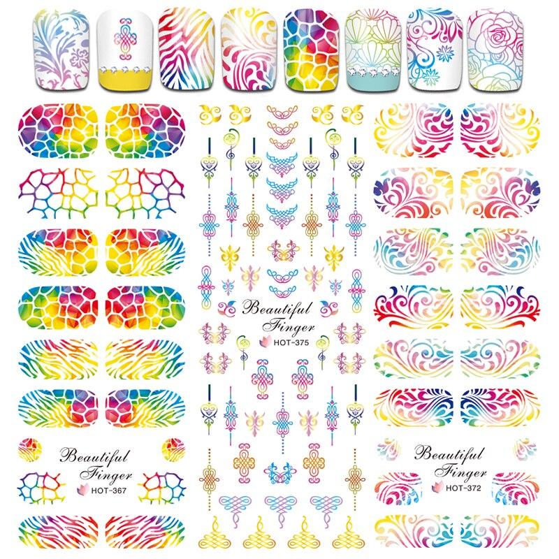 6 Designs Hollow Nail Sticker Flower 3d Charm Manicure Decals Color Tips Stick Stencils Mix DIY Nail Art Decor Set SAHOT364-375 akg wms40 mini2 mix set bd ism2 3