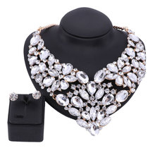 Fine African Jewelry Sets Gold Color For Women Party Accessories Wedding Bridal Rhinestone Crystal Pendant Necklace Earrings
