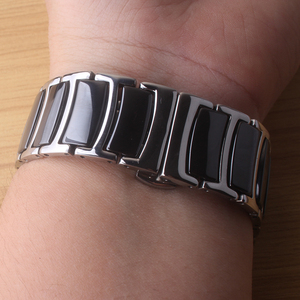 Image 2 - 20mm 22mm Ceramic WITH Stainless steel Watchband black Watch band  Straps Butterfly Buckle wristbands bracelets polished Thinner