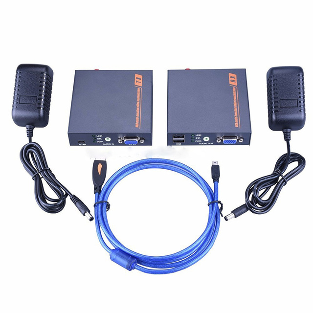 US $92 87 49% OFF Navceker 200m VGA USB Audio Over IP KVM Extender 1080P  KVM VGA Extender Ethernet LAN Cat5 Cat5e Cat6 RJ45 KVM Extenders VGA USB-in