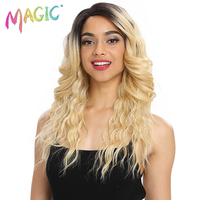 MAGIC Long Wavy Synthetic Hair Lace Part Wig 22Inch Wigs For Black Women New Colors Red Mixed Cosplay Wig Synthetic Lace Wig