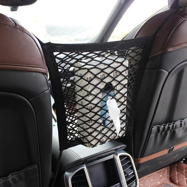 Elastic Mesh Net Trunk Bag Car Organizer Front Seat Back Storage Double Layer