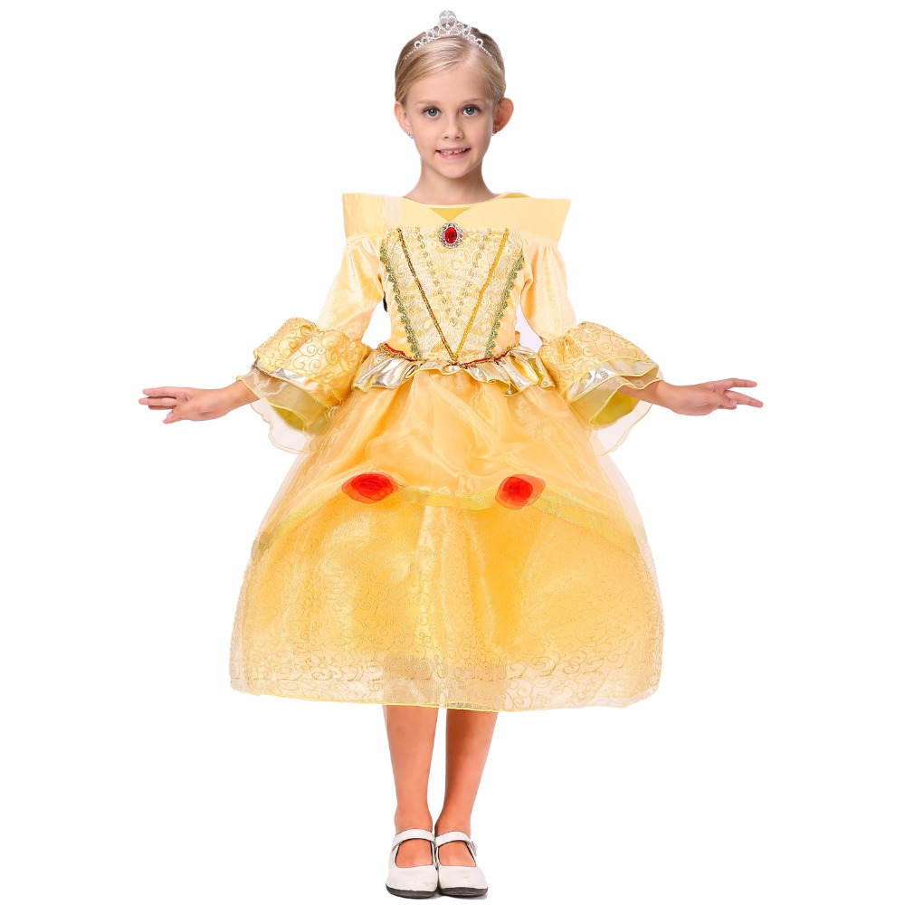 NEW Fancy Beauty And Beast Cosplay Dresses For Girls Belle Princess Kids Girls Costume dress Christmas Halloween Costumes