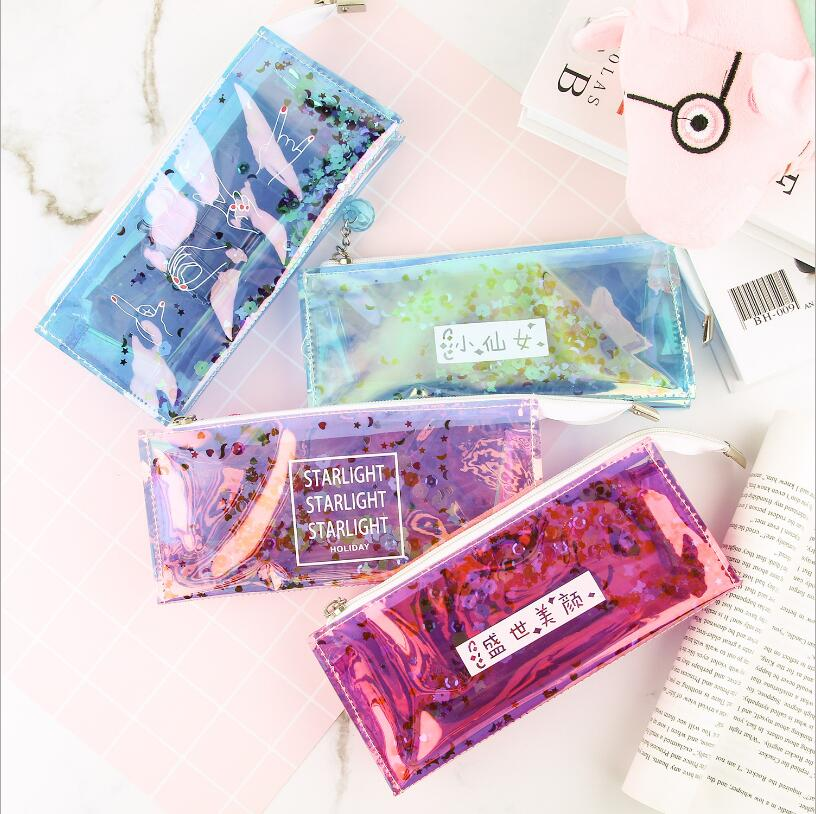 Kawaii Transparent Cool Pencil Case Super Shiny Laser Bling PVC Pencils Bags Sequin Stationery Pouch Office School Supplies Gift