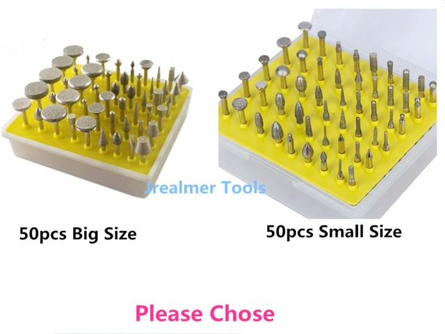 Jrealmer 50pcs Diamond Grinding Burrs 1/8(3 175) Mounted Points Rotary Tool  Engraving Abrasive Dental Burs