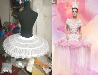 E JUE SHUNG Ball Gown Ballet Underskirt Short Dress Cosplay Petticoat Three Bones Puffy Lolita Petticoat  Rockabilly Crinoline