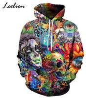 LeeLion 2018 New Paint Skull Printed 3D Hoodies Men Women Sweatshirts Hooded Tracksuits Coats Fashion Hip