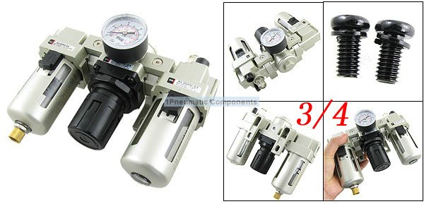 Free Shipping 2PCS/Lot SMC 3/4'' Metal Air Source Treatment Unit Filter Regulator With Cover 3 Pieces Combinations AC4000-06 free shipping 10pcs lot lm1117t 3 3 p low dropout voltage regulator lm1117 3 3v dip to 220 new original