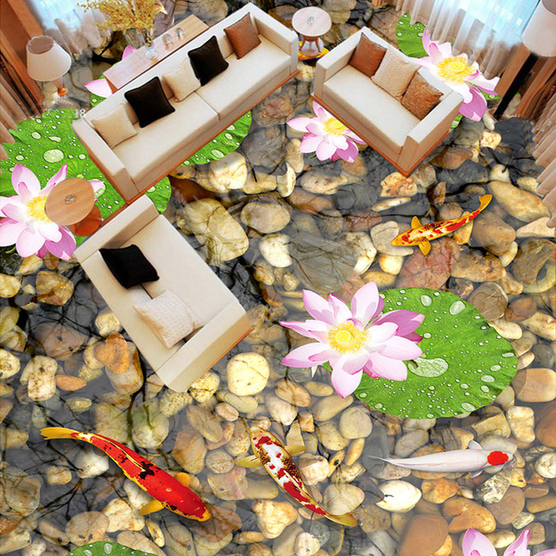 Custom 3D Floor Painting PVC Self-adhesive Mural Stones Lotus Flower Fish Bathroom Living Room Floor Sticker Vinyl Wallpaper-3D 3d floor painting wallpaper 3d fish play pond jade carving floor pvc self adhesive wallpaper 3d flooring