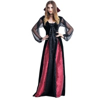 Women Cosplay Vampires Queen Mesh Elastic Vintage Long Dresses Vampire Countess Drawstring Dress Demon S XL