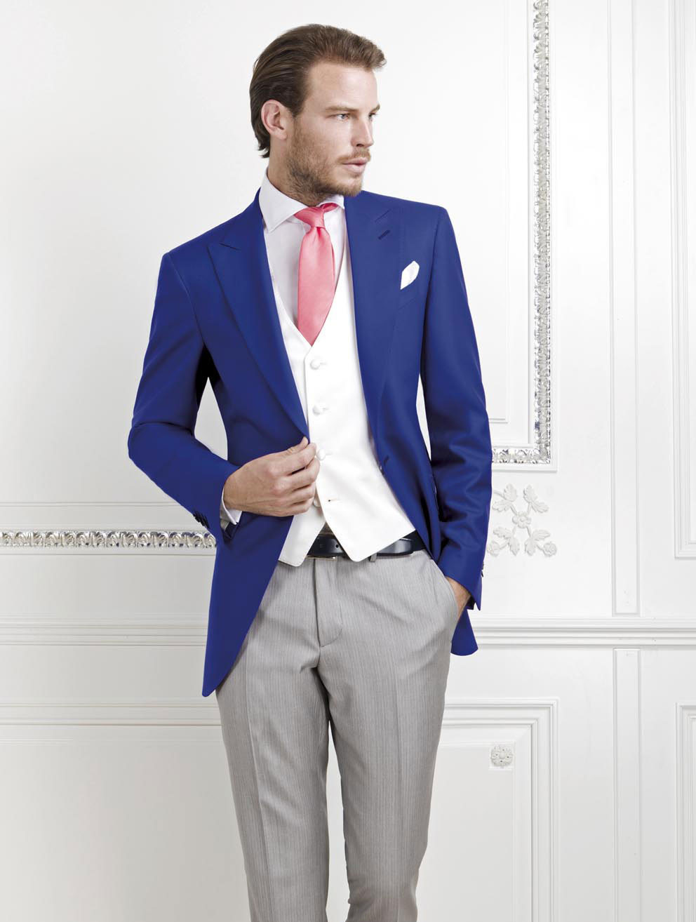 Vestito Matrimonio Uomo Tight : New arrival royal blue groom tuxedos groomsmen mens