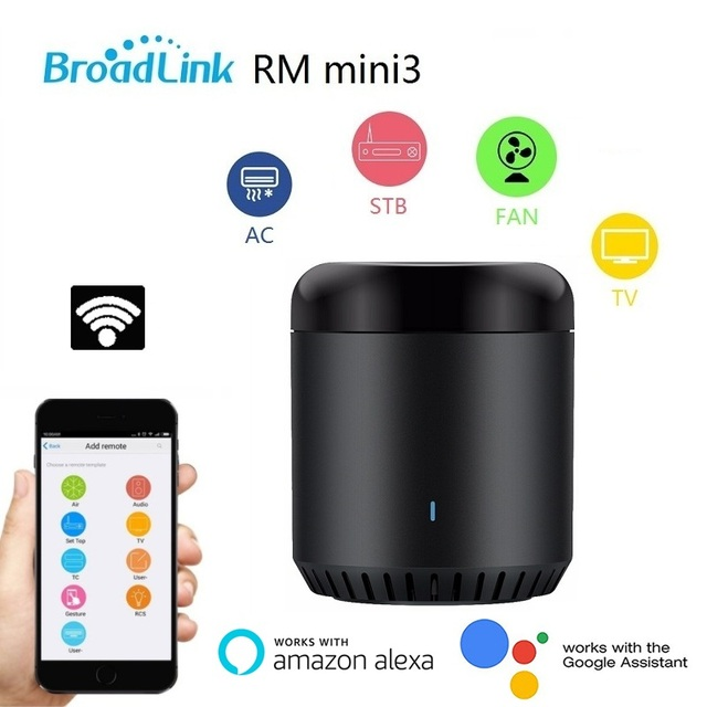 Broadlink RM Mini3 Black Bean Universal Remote, WiFi + IR Control Hub for Smart Home, Compatible with Alexa, One for All Infrare
