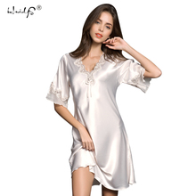 Women Satin Sleepwear Silk Nightgown Half Sleeve Embroidery Nightdress Sexy Lingerie Ladies Slip Dress Plus Size Female Nightie