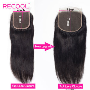 Image 4 - Recool ברזילאי ישר שיער חבילות עם סגירת 3 חבילות עם 7X7 תחרה סגירת רמי שיער טבעי Weave חבילות עם סגירה