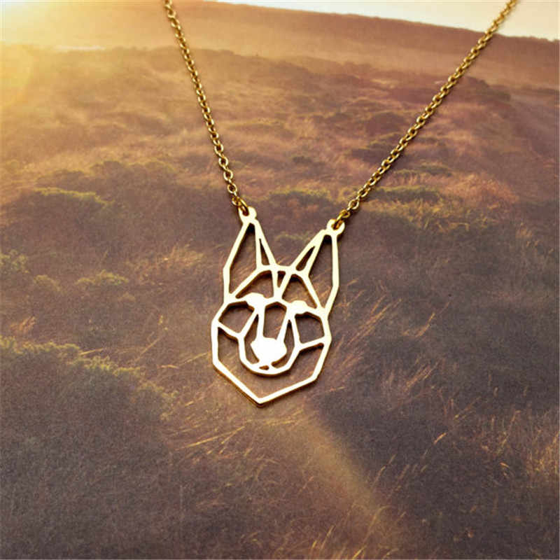 Fashion cute pet Origami German Shepherd dog head Pendant Choker Necklace for women girls delicate Christmas gift Jewelry
