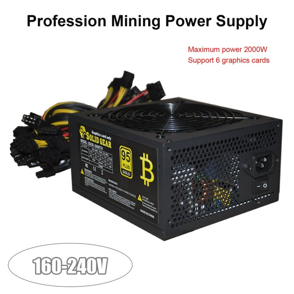 LESHP 2000W ATX Gold Mining Power Supply SATA IDE 8 GPU for ETH BTC Ethereum Coin Miner Support 8 Graphics Card Power Supply