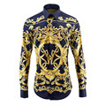 Royal Fashion Shirts Men Chemise Homme Luxury Brand Long Sleeve Mens Dress Shirts Casual Fitness Cotton Print Camisa Masculina
