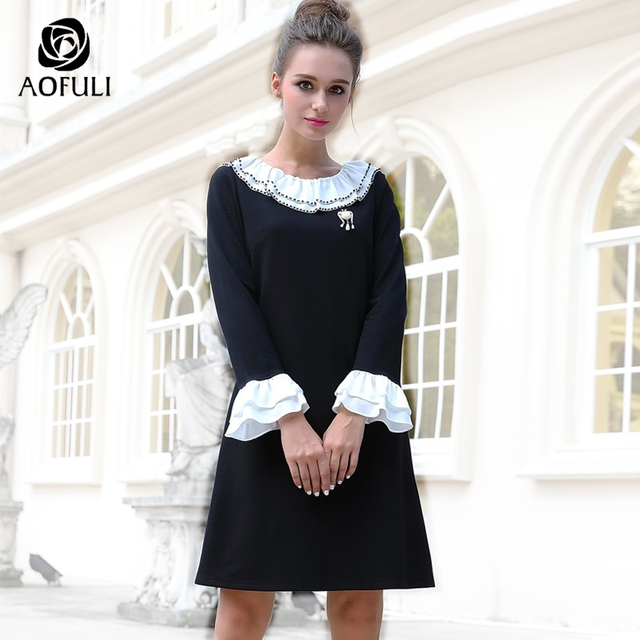M- 4XL 5XL Ruffle Retro Hepburn Dress Black White Contrast Winter Dress  Beadings Women Big Size Flare Sleeve Straight Dress 6126 4ee8857da2f0