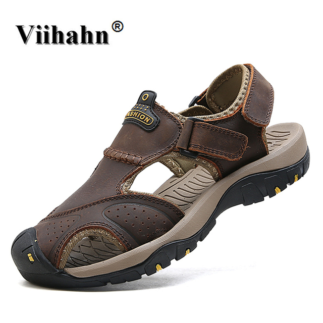 411d1d83d75c Viihahn Summer Mens Sandals Walking Sneakers Quality Genuine Leather Wading  Outdoor Trekking Walking Shoes Beach Sandals