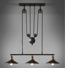 New Loft America Pulley Lifting Pendant Lights Creative Industrial Vintage Pendant Lamp Adjustable/Contractile Home Lighting
