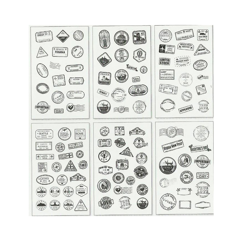 6 Pcs/pack Vintage Postmark Decorative Washi Stickers Scrapbooking Stick Label Diary Stationery Album Stickers