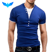 New Fashion Mens 2016 Short Sleeve Brand T Shirt V Neck Men T Shirt Personality Top