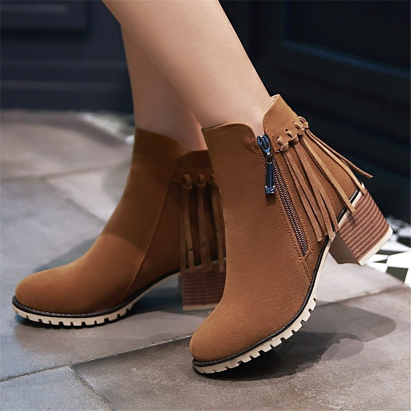 Plus size 34-43 Autumn And Winter Fashion Women Boots Fringe Round Toe Flock Women Motorcycle Boots Thick Heel Ankle Boots Shoes enmayla ankle boots for women low heels autumn and winter boots shoes woman large size 34 43 round toe motorcycle boots