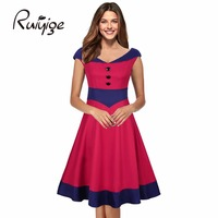 2017 RUIYIGE New Arrival Women Vintage Plus Size V Neck Elegant Formal Office Evening Party Sexy