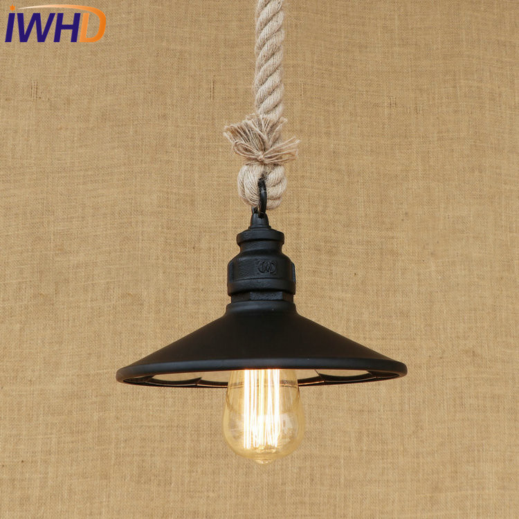 IWHD Loft Style Iron Water Pipe Pendant Light Fixtures Hemp Rope Edison Vintage Industrial Lighting Mirror Glass Hanging Lamp iwhd american edison loft style antique pendant lamp industrial creative lid iron vintage hanging light fixtures home lighting