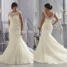 Euro Type Scoop Neck Appliques with Beads Cap Sleeves Pleated Bodice Organza Mermaid Plus Size Wedding Dress 2014 Newest plus scoop neck tropic print dress