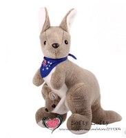 Ücretsiz kargo 45 cm büyük eşarp ile Avustralya kanguru bebek roo oyuncaklar peluş oyuncak çocuk kız erkek çocuklar bebek duş doğum günü hediye