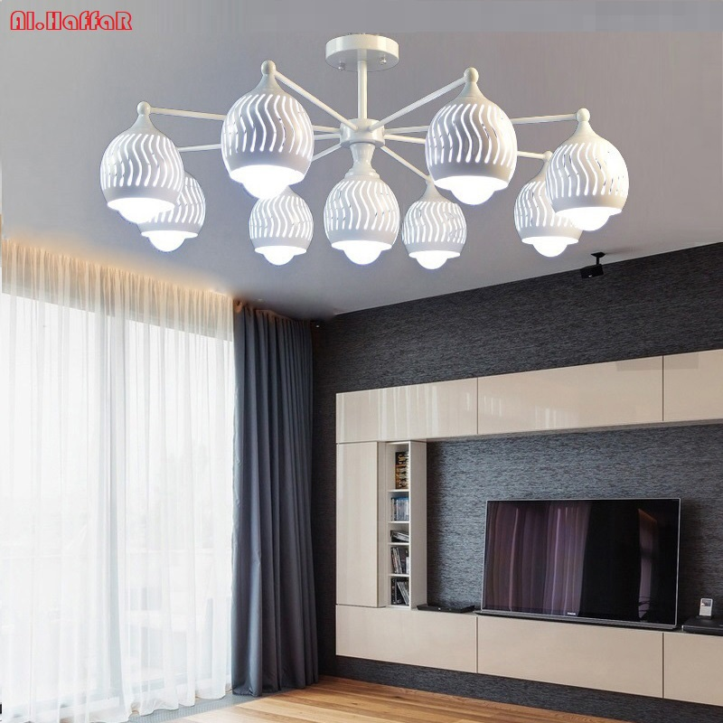 Modern LED white/black Iron ceiling Chandeliers E27 With Iron Lampshade simple creative Lighting Fixtures for Living room chandeliers lights led lamps e27 bulbs iron ceiling fixtures glass cover american european style for living room bedroom 1031