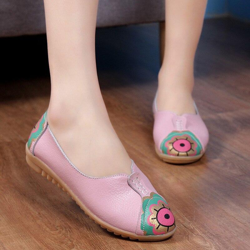 Chaussures pink Blue Cuir Mocassins Appartements D'hiver Dames Femmes Véritable white En De Confortable Eye Imprimer Luxe Base yellow Solide Raqr4wR