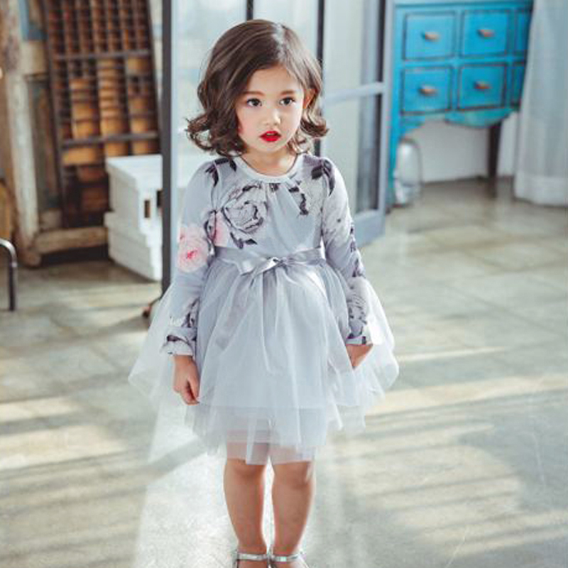 3-8 Years Girl Dresses Holiday Children Princess Long Sleeve Floral Print Costume Party Casual Wear Kids Dress Vestido Infantil 3 4 sleeve tribal print shift mini dress