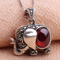 925 Silver Garnet Necklace Pendant elephant ethnic fashion accessories wholesale first clavicle