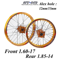 Motorcycle Front 1.60 17 Rear 1.85 14 inch Alloy Wheel Rim with CNC Hub For KAYO HR 160cc TY150CC Dirt Pit bike 14/17 inch