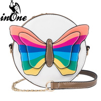 INONE Ladies Fashion Rainbow Butterfly Round Hard Hand Bag Shoulder Messenger Crossbody Bags for Women 2019 Purses and Handbags