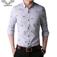 d52df57d219 VISADA JAUNA Новинка 2018 года повседневное для мужчин рубашка кардиган с  длинными рукавами Корейская версия Fit Slim печатных М..