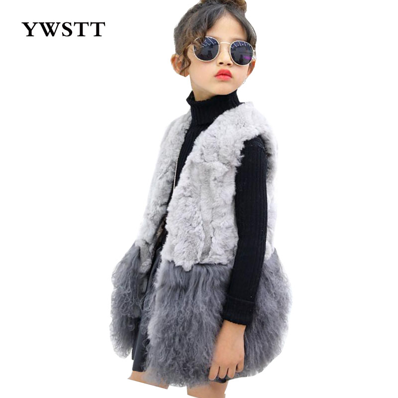 Children's Rex rabbit fur vest Winter Warm Waistcoat 2017 New Girls Children Sleeveless Jacket Outerwear Clothing new winter baby hat real fur pom pom knitted toddler kid thick warm double raccoon fur balls beanies boys girls bonnet gorros f3