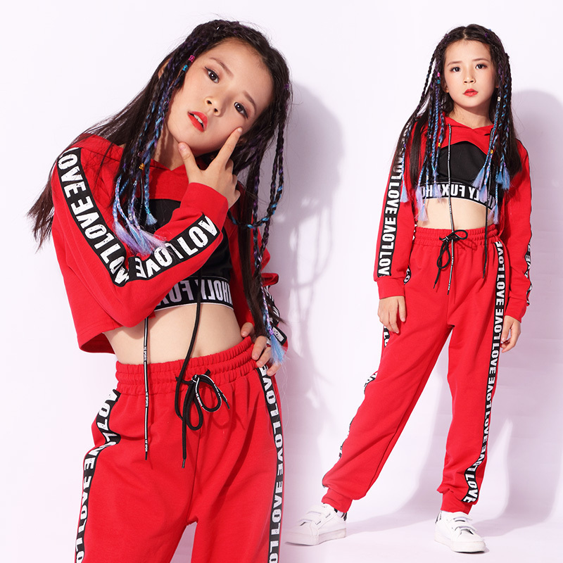 Kids Dance Costume Girl Red Jazz Dancing Clothes Street Dance Performance Wear Children Hip Hop Stage Outfits  3 Pcs Set DC1427