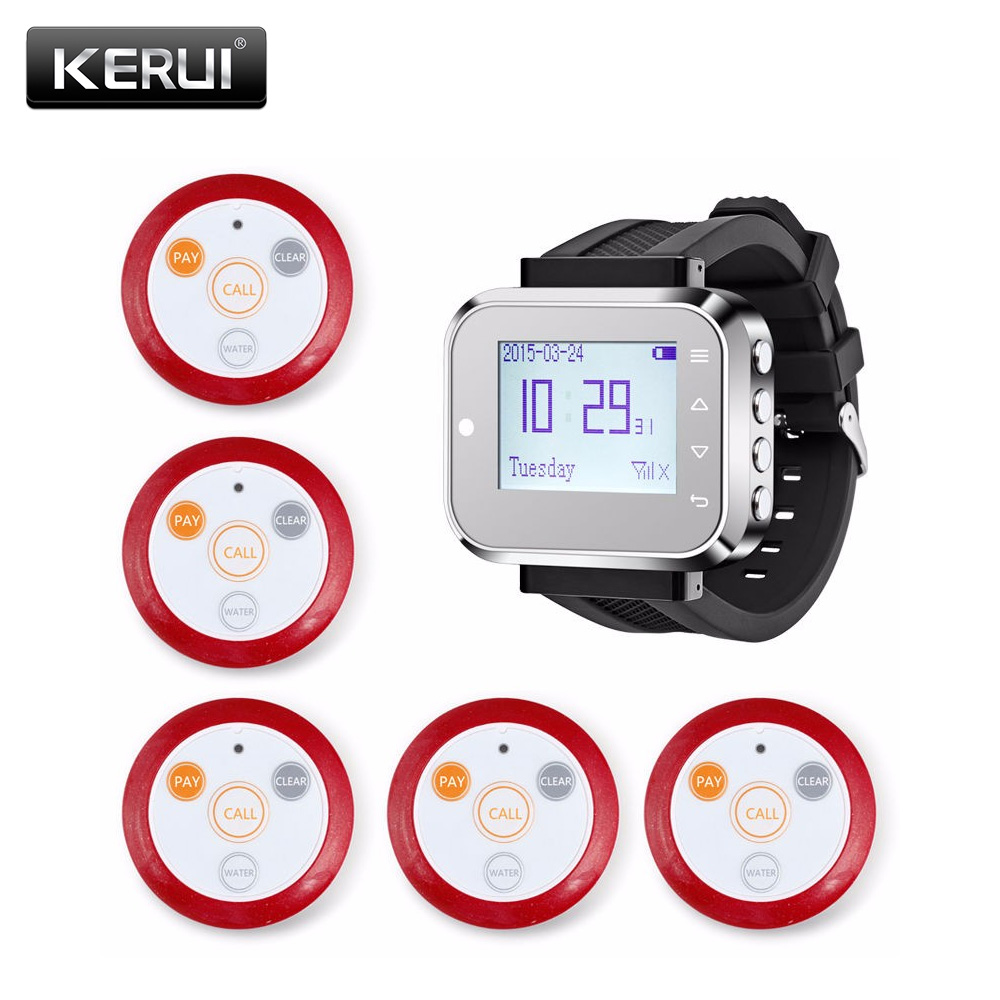 KERUI Fashionable & Hot Sale Black Waiter restaurant dining room Service Calling System Watch Pager Service System (KR-C166) 2 receivers 60 buzzers wireless restaurant buzzer caller table call calling button waiter pager system