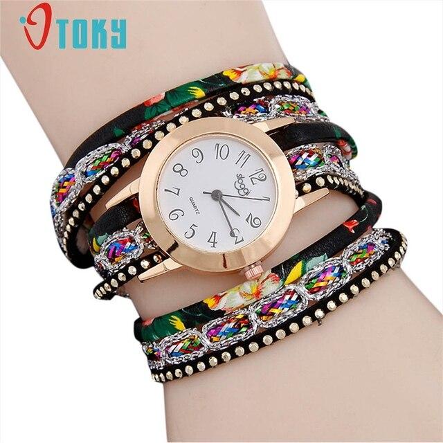 OTOKY ladies quartz watch fashion women's Leather bracelet watch luxury Multilay