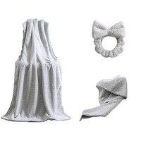3 Pcs Gray Microfiber 70% Polyester Fiber &30% Carbon Fiber Turkish Towel Corals Bath Towel &Dry Hair Cap &Hair Band Towel Set