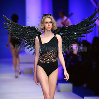 2017 lastest gold or black angel wing props catwalk show props festival Angel Feather wings Window underwear show costume