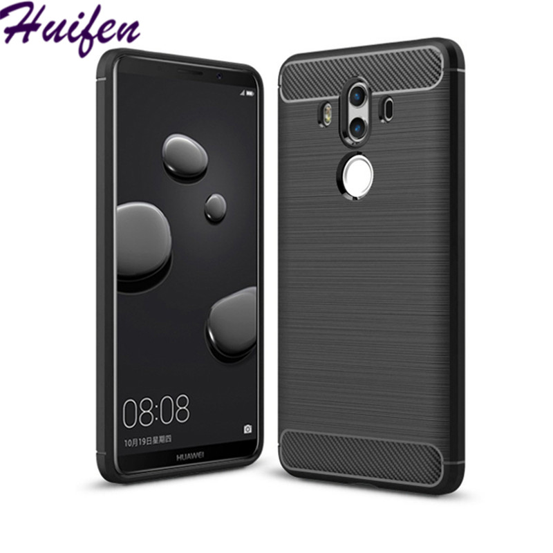 For Huawei Mate 10 Pro Case Hybrid Super Armor Carbon Fiber Texture Brushed Soft Silicone Cover mate10 pro Phone Bag Funda (L92)
