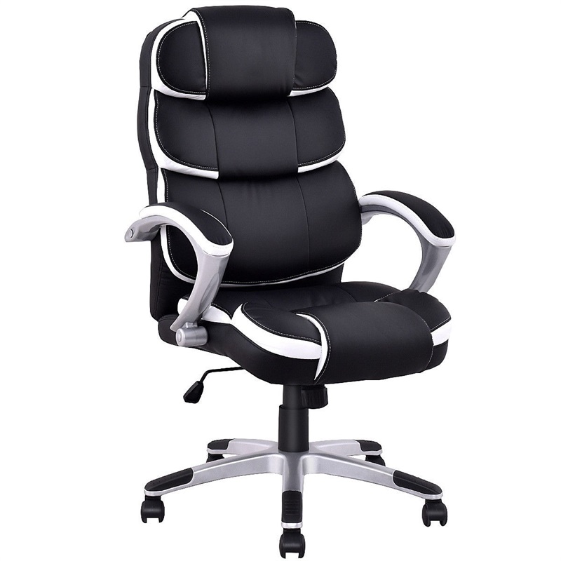 High Quality Ergonomic PU Leather High Back Computer Chair Black White Executive Boss